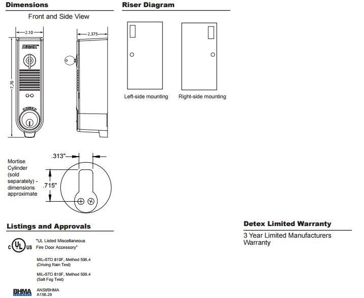 Eax 300w Series Weatherized Door Prop Alarm By Detex