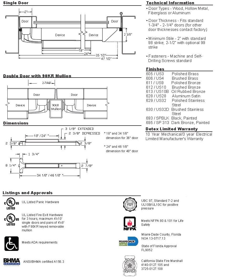 Advantex 40 Series Narrow Stile Rim Exit Device
