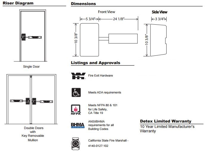 Ecl 600 Fire Exit Hardware With Long Bar