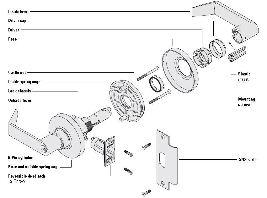 al40s std duty commercial privacy lever locks by schlage rh locksandsafesonline com schlage deadbolt parts diagram schlage parts manual