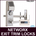 Add Trilogy convenience, programming, flexibility and audit trail to rim panic exit devices from most major manufacturers Trilogy narrow stile exit trims/keyless exit trim locks which includes clutch mechanism insures long life and durability with fingertip / windows programmable.