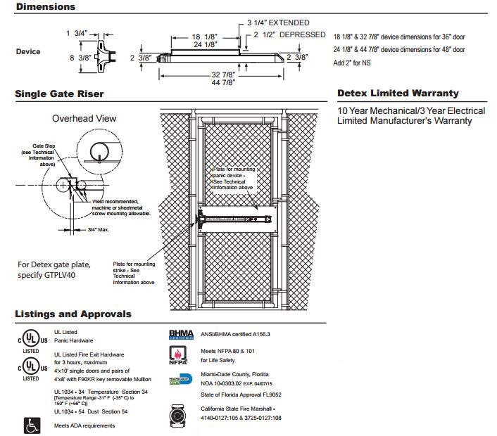 v40xw-technical.jpg  sc 1 st  Locks and Safes Online.com & Detex V40xW | Weatherized Rim Exit Device