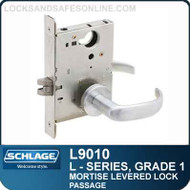 Schlage L9010 - GRADE 1 MORTISE LEVERED LOCK - Passage Latch - Standard Lever Collections