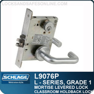 Schlage L9076P/LV9076P - GRADE 1 MORTISE LEVERED LOCK - Classroom Holdback Lock - Designer Series Levers (M Collection Levers)