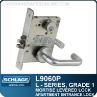 Schlage L9060P/LV9060P - GRADE 1 MORTISE LEVERED LOCK - Apartment Entrance Lock - Escutcheon Trim - Standard Collection Levers