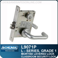 Schlage L9071P/LV9071P - GRADE 1 MORTISE LEVERED LOCK - Classroom Security Lock - Escutcheon Trim - Standard Collection Levers