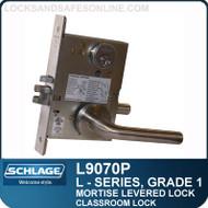 Schlage L9070P/LV9070P - GRADE 1 MORTISE LEVERED LOCK - Classroom Lock - Escutcheon Trim - M Collection Levers