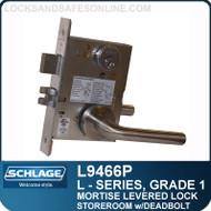 Schlage L9466P - GRADE 1 MORTISE LEVERED LOCK - Storeroom Lock with Deadbolt - Escutcheon Trim - M Collection Levers