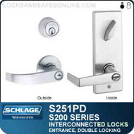 Schlage S251PD - Interconnected Lock - Double Cylinder - Entrance Lock