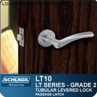 Schlage LT10 - Grade 2 Tubular Levered Lock - Passage Latch