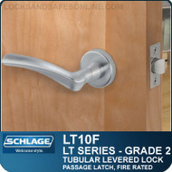 Schlage LT10F - Grade 2 Tubular Levered Lock - Passage Latch, Fire Rated