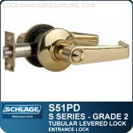 Schlage S51PD - Grade 2 Tubular Levered Locks - Entrance Lock