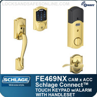 Schlage FE469NX-CAM-ACC - Camelot Style Schlage Connect™ and Handleset with Accent Lever and Built-in Alarm