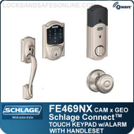 Schlage FE469NX-CAM-GEO - Camelot Style Schlage Connect™ and Handleset with Georgian Knob and Built-in Alarm