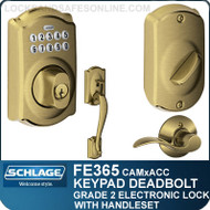 Schlage FE365-CAM-ACC - Camelot Style Keypad Deadbolt and Handleset with Accent Lever