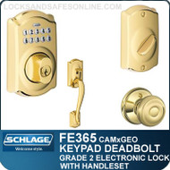 Schlage FE365-CAM-GEO - Camelot Style Keypad Deadbolt and Handleset with Georgian Knob