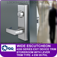 PDQ WIDE ESCUTCHEON TRIM - Storeroom with Lever - (For PDQ 4200 Series Exit Devices)