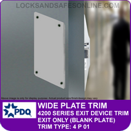 PDQ PLATE/PULL TRIM - Exit Only (Blank Plate) - (For PDQ 4200 Series Exit Devices)