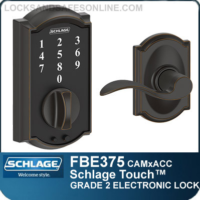 schlage electronic locks. Schlage FBE375-CAM-ACC - Camelot Style Touch™ And Accent Lever Electronic Locks O