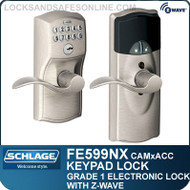Schlage FE599NX-CAM-ACC - Camelot Style Residential Connected Keypad Lock and Lever with Z-Wave Technology