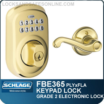Schlage FBE365-PLY-FLA - Plymouth Style Keypad Deadbolt and Flair Lever