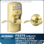Schlage FE575-CAM-ACC - Camelot Style Keypad Accent Lever with Auto Lock