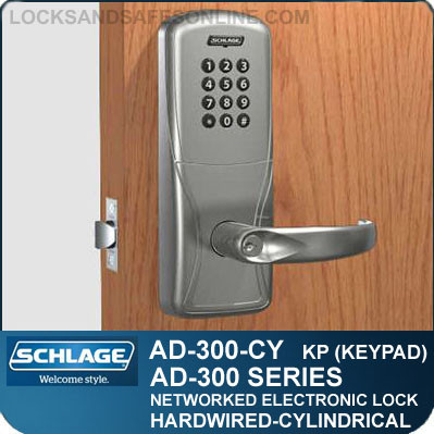 Networked Electronic Cylindrical Locks Schlage Ad 300 Cy Kp