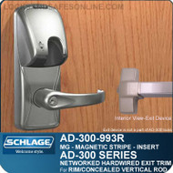 Schlage AD-300-993R - NETWORKED HARDWIRED EXIT TRIM - Exit Rim/Concealed Vertical Rod/Concealed Vertical Cable - Magnetic Stripe (Insert)
