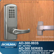 Schlage AD-300-993S - NETWORKED HARDWIRED EXIT TRIM - Exit Surface Vertical Rod - Keypad Only