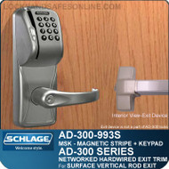Schlage AD-300-993S - NETWORKED HARDWIRED EXIT TRIM - Exit Surface Vertical Rod - Magnetic Stripe (Swipe) + Keypad