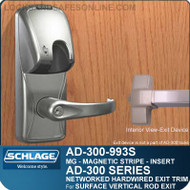 Schlage AD-300-993S - NETWORKED HARDWIRED EXIT TRIM - Exit Surface Vertical Rod - Magnetic Stripe (Insert)