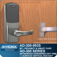 Schlage AD-300-993S - NETWORKED HARDWIRED EXIT TRIM - Exit Surface Vertical Rod - Multi-Technology | Proximity and Smart Card