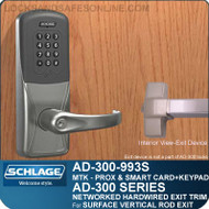 Schlage AD-300-993S - NETWORKED HARDWIRED EXIT TRIM - Exit Surface Vertical Rod - Multi-Technology + Keypad | Proximity and Smart Card