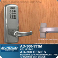 Schlage AD-300-993M - NETWORKED HARDWIRED EXIT TRIM - Exit Mortise Lock - Keypad Only