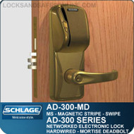 Schlage AD-300-MD-MS (Magnetic Stripe - Swipe) Networked Electronic Mortise Deadbolt Locks