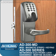 Schlage AD-300-MD-MGK (Magnetic Stripe - Insert + Keypad) Networked Electronic Mortise Deadbolt Locks