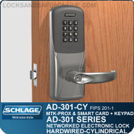 Schlage AD-301-CY - Networked Hardwired Cylindrical Locks - FIPS 201-1 Multi-Technology + Keypad | Proximity and Smart Card