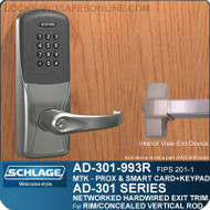 Schlage AD-301-993R - Networked Hardwired Exit Trim - Exit Rim/Concealed Vertical Rod/Concealed Vertical Cable - FIPS 201-1 Multi-Technology + Keypad | Proximity and Smart Card