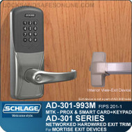 Schlage AD-301-993M - Networked Hardwired Exit Trim - Exit Mortise Lock - FIPS 201-1 Multi-Technology + Keypad | Proximity and Smart Card