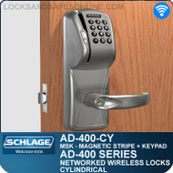 Schlage AD-400-CY - Networked Wireless Cylindrical Locks - Magnetic Stripe (Swipe) + Keypad