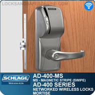 Schlage AD-400-MS - Networked Wireless Mortise Locks - Magnetic Stripe (Swipe)
