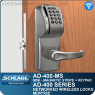 Schlage AD-400-MS - Networked Wireless Mortise Locks - Magnetic Stripe (Swipe) + Keypad