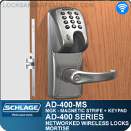 Schlage AD-400-MS - Networked Wireless Mortise Locks - Magnetic Stripe (Insert) + Keypad