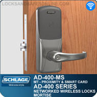 Schlage AD-400-MS - Networked Wireless Mortise Locks - Multi-Technology | Proximity and Smart Card
