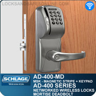 Schlage AD-400-MD - Networked Wireless Mortise Deadbolt Locks - Magnetic Stripe (Swipe) + Keypad
