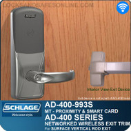 Schlage AD-400-993S - Networked Wireless Exit Trim - Exit Surface Vertical Rod - Multi-Technology | Proximity and Smart Card
