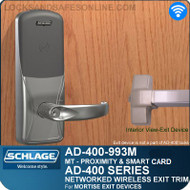 Schlage AD-400-993M - Networked Wireless Exit Trim - Exit Mortise Lock - Multi-Technology | Proximity and Smart Card