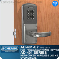 Schlage AD-401-CY - Networked Wireless Cylindrical Locks - FMK (FIPS 201-1 Multi-Technology + Keypad | Proximity and Smart Card)