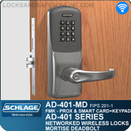 Schlage AD-401-MD - Networked Wireless Mortise Deadbolt Locks - FMK (FIPS 201-1 Multi-Technology + Keypad | Proximity and Smart Card)