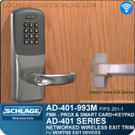 Schlage AD-401-993M - Networked Wireless Exit Trim - Exit Mortise Lock - FMK (FIPS 201-1 Multi-Technology + Keypad | Proximity and Smart Card)